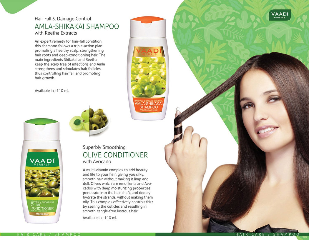 Hairfall & Damage Control Organic Gooseberry Shampoo - Rich Olive Conditioner (2 x 110 ml/ 4 fl oz)
