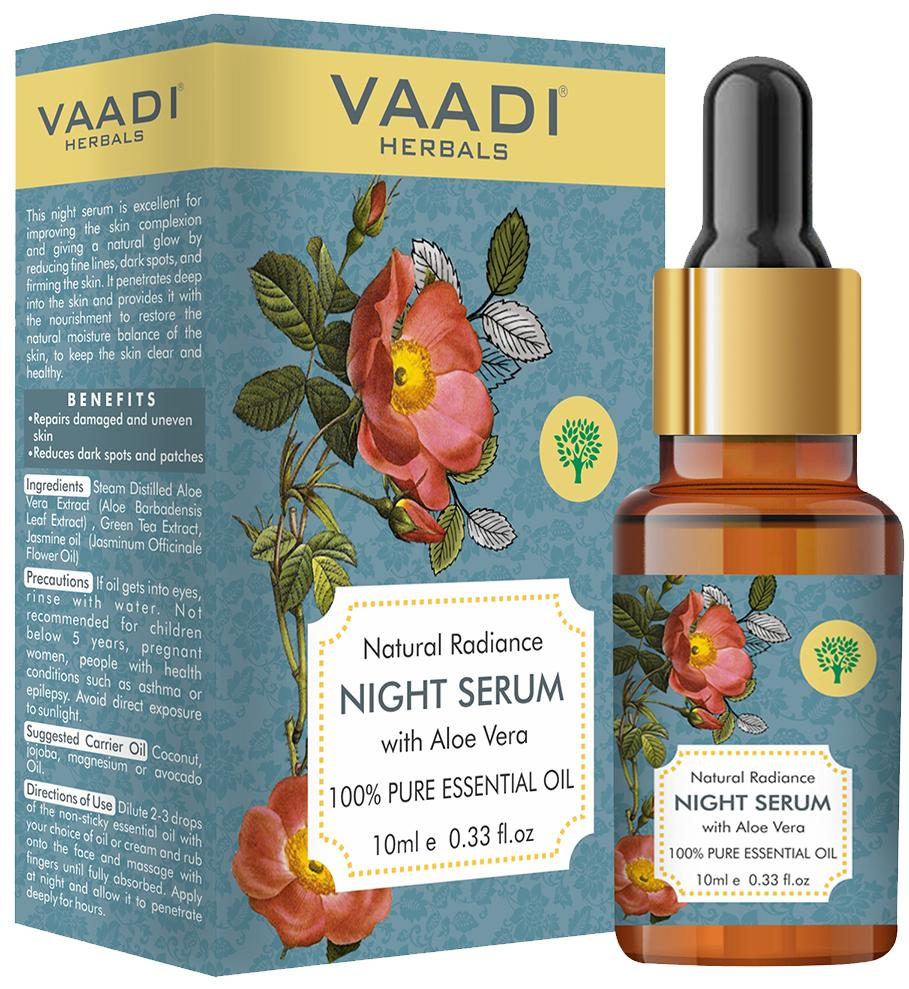 Organic Natural Radiance Night Serum with Aloe Vera - Reduces Dark Spots & patches, Repairs Damaged & Uneven Skin (10 ml/ 0.33 oz)