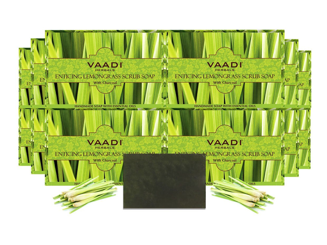 Enticing Organic Lemongrass Soap with Charcoal - Exfoliates & Polishes Skin (12 x 75 gms / 2.7 oz)