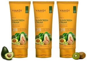 Organic Sunscreen Cream SPF 25 with Kiwi & Avocado Extract - Protects & Nourishes Skin - Enhances Complexion (3 x 110 gms / 4 oz)