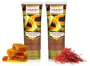 Organic Papaya Scrub Gel with Honey & Saffron - Reduces Tan - Smoothens Skin Texture - Makes Skin Flawless (2 x 110 gms /4 oz)