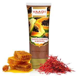 Organic Papaya Scrub Gel with Honey & Saffron - Reduces Tan - Smoothens Skin Texture - Makes Skin Flawless (110 gms / 4 oz)