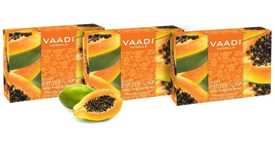 Organic Fresh Papaya Soap - Clears Impurities off Skin - Evens Out Skin Tone (3 x 75 gms / 2.7 oz)