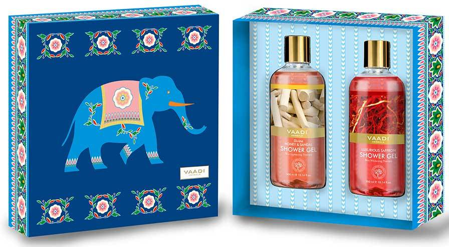 Royal India Organic Shower Gels Gift Box - Luxurious Saffron & Divine Honey and Sandal 300 ml - Exotic Bathing Experience