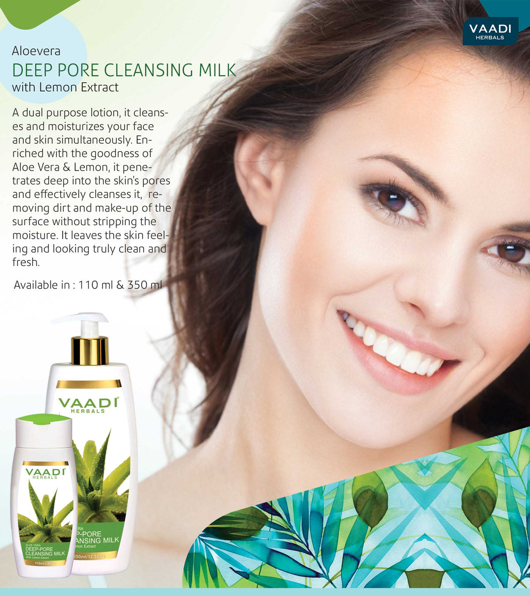 Organic Aloe Vera Deep Pore Cleansing Milk with Lemon Extract - Softens Skin (350 ml/ 12 fl oz)