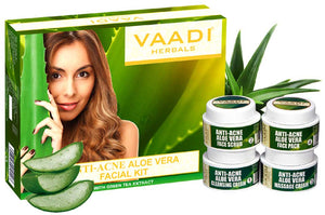 Anti Acne Organic Aloe Vera Facial Kit - Clears Skin Deep Impurities - Protects & Hydrates Skin (70 gms/2.5 oz)
