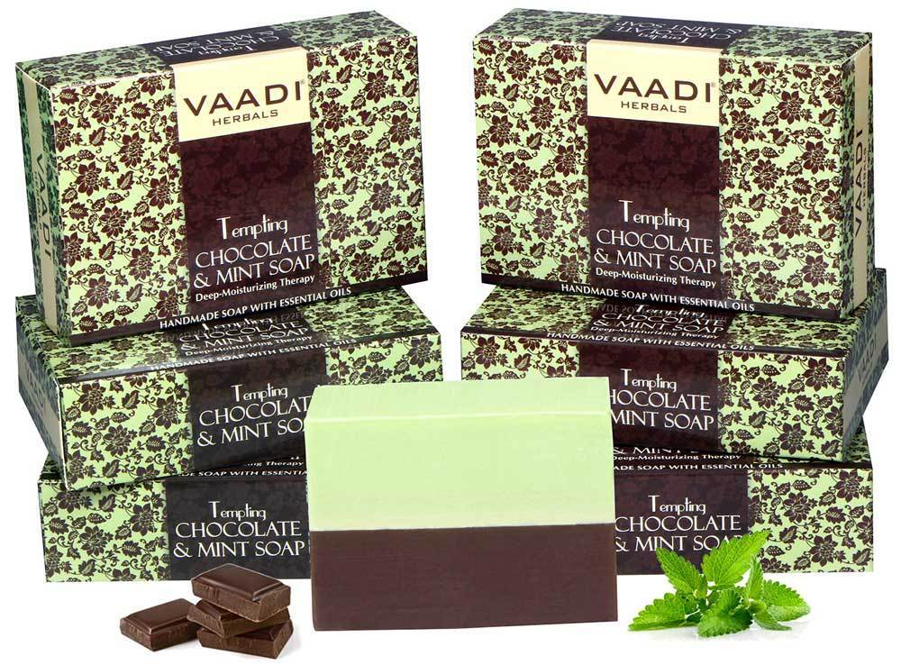 Tempting Organic Chocolate & Mint Soap - Deep Moisturising (6 x 75 gms / 2.7 oz)
