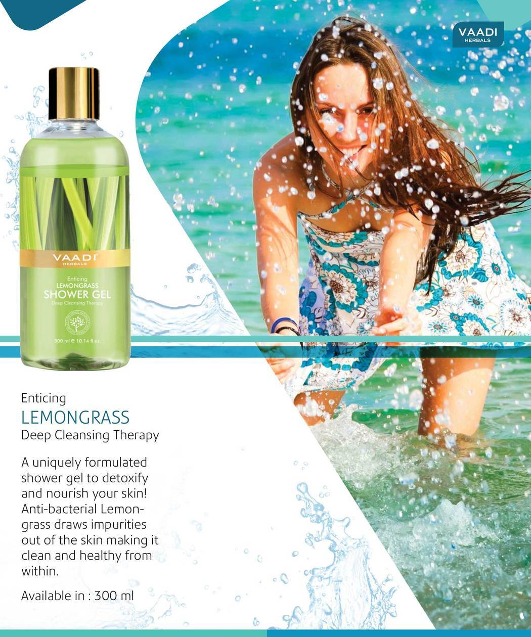 Enticing Organic Lemongrass Shower Gel - Deep Nourishing - Anti Bacterial (3 x 300 ml / 10.2 fl oz)