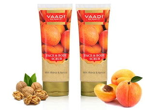 Organic Face & Body Scrub with Walnut & Apricot - Exfoliates & Unclogs Pores - Keeps Skin Youthful ( 2 x 110 gms / 4 oz)