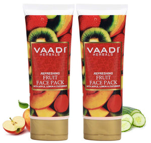 Refreshing Organic Fruit Face Pack with Apple, Lemon & Cucumber - Protects & Revitalizes Skin  (2 x 120 gms/ 4.3 oz)