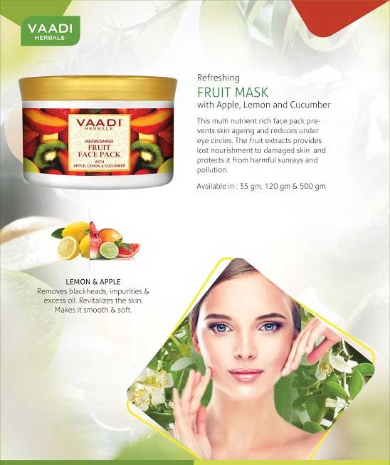 Refreshing Organic Fruit Face Pack with Apple, Lemon & Cucumber - Protects & Revitalizes Skin (600 gms/ 17.63 oz)