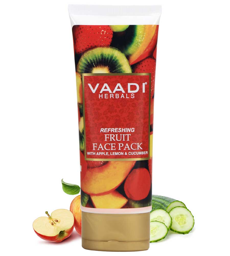 Refreshing Organic Fruit Face Pack with Apple, Lemon & Cucumber - Protects & Revitalizes Skin  (120 gms/ 4.3 oz)