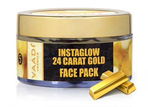 Organic 24 Carat Gold Face Pack with Gold Leaves - Brightens Skin and Gives Glow (70 gms/2.5 oz)