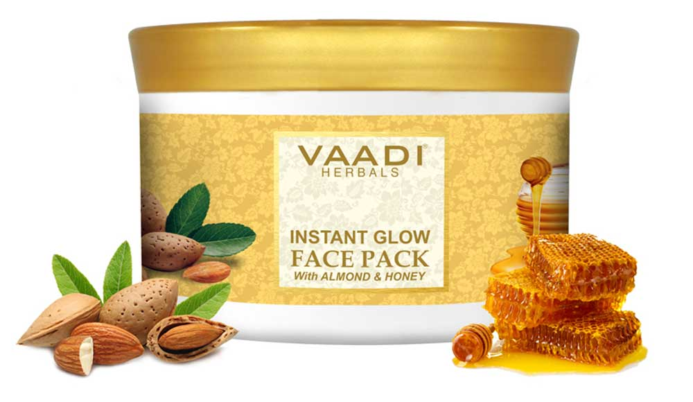 Organic InstaGlow Face Pack with Almond & Honey - Reduces Pigmentation - Gives Instant Glow (600 gms/ 21.16 oz)