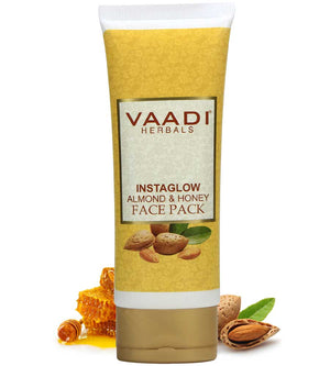Organic InstaGlow Face Pack with Almond & Honey - Reduces Pigmentation - Gives Instant Glow (120 gms /4.3 oz)