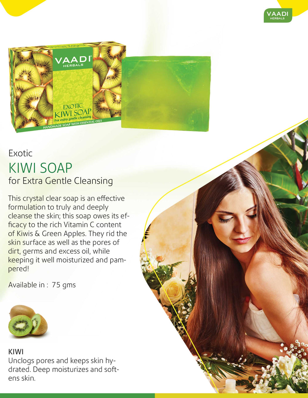 Exotic Organic Kiwi Soap with Green Apple Extract - Gently Clears Skin (6 x 75 gms / 2.7 oz)