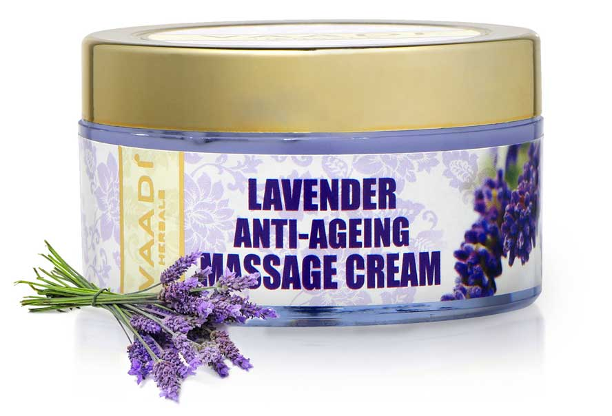 Anti Ageing Organic Lavender Massage Cream with Rosemary Extract - Boosts Cellular Renewal - Keeps Skin Firm (50 gms / 2 oz)