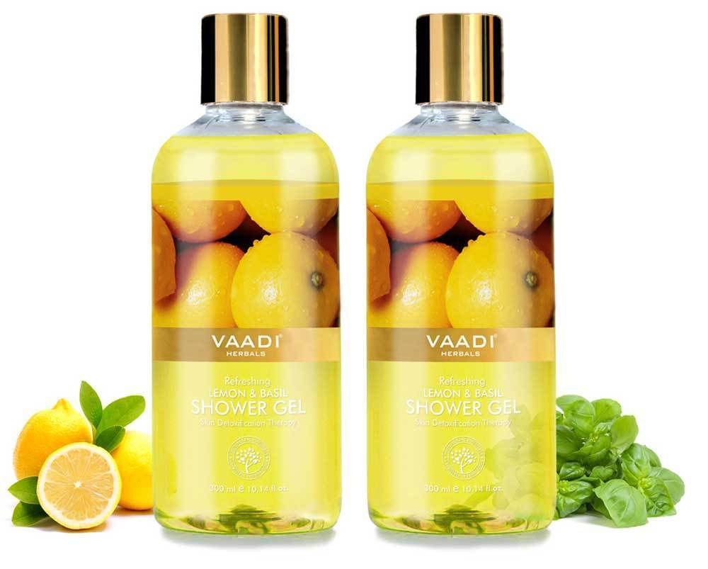 Refreshing Organic Lemon & Basil Shower Gel - Skin Detoxifying (2 x 300 ml / 10.2 fl oz)