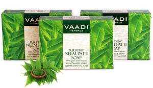 Organic Neem Soap with Pure Neem Leaves (Neem Patti) - Detoxifies Skin (3 x 75 gms / 2.7 oz)