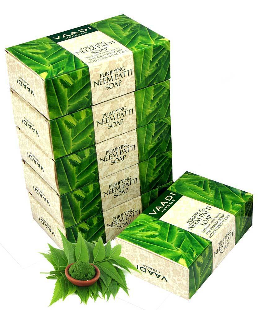 Organic Neem Soap with Pure Neem Leaves (Neem Patti) - Detoxifies Skin (6 x 75 gms / 2.7 oz)