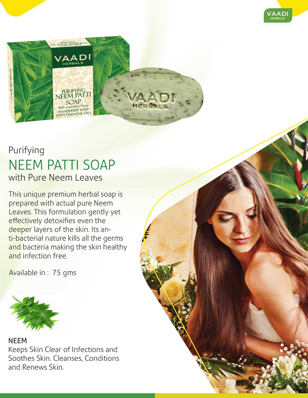 Organic Neem Soap with Pure Neem Leaves (Neem Patti) - Detoxifies Skin (75 gms / 2.7 oz)