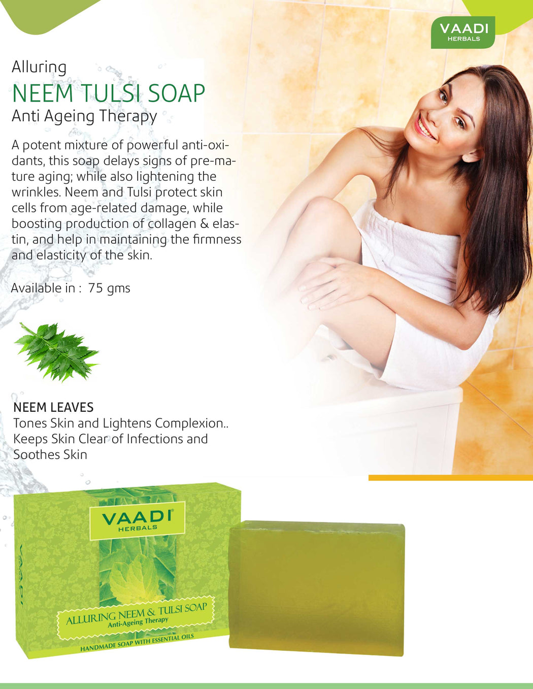 Organic Anti Bacterial Neem Tulsi Soap with Aloe Vera, Vitamin E & Tea Tree Oil (6 x 75 gms / 2.7 oz)