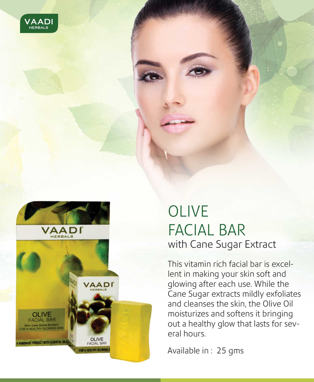 Organic Olive Facial Bar with Cane Sugar Extract - Exfoliates & Clean the Skin (6 x 25 gms/0.9 oz)