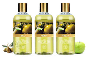 Breezy Organic Olive & Green Apple Shower Gel - Skin Revitalizing Therapy (3 x 300 ml / 10.2 fl oz)