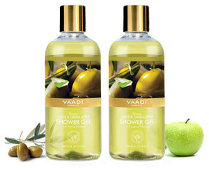 Breezy Organic Olive & Green Apple Shower Gel - Skin Revitalizing Therapy (2 x 300 ml/10.2 fl oz)