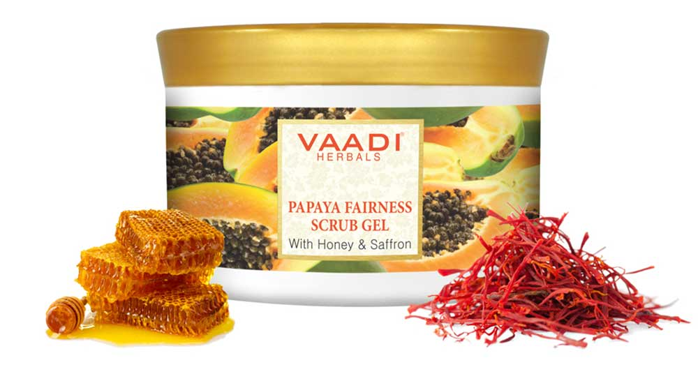 Organic Papaya Scrub Gel with Honey & Saffron - Reduces Tan - Smoothens Skin Texture - Makes Skin Flawless (600 gms/ 17.63 oz)