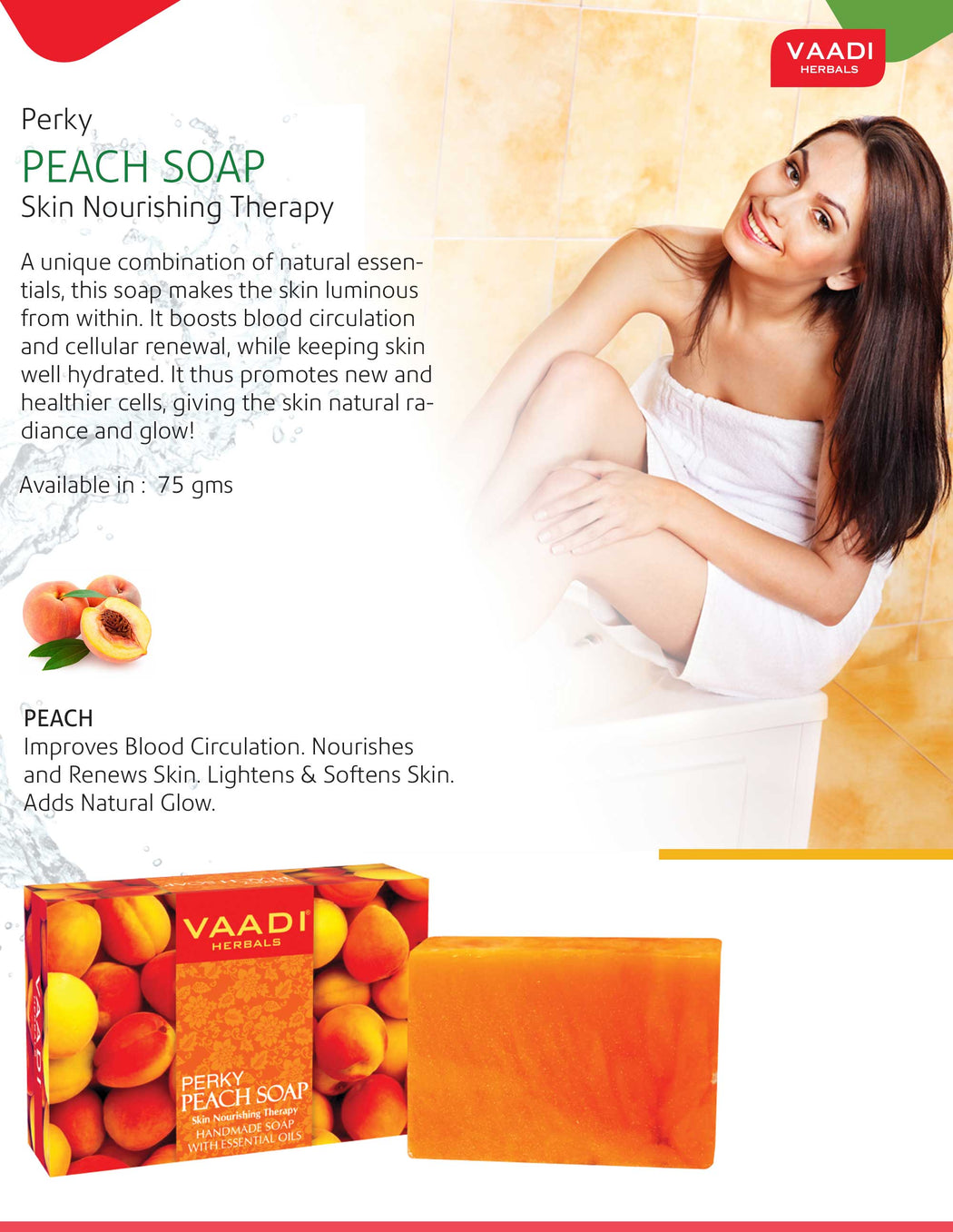 Organic Perky Peach Soap with Almond Oil - Skin Nourishing - Rehydrates (3 x 75 gms / 2.7 oz)