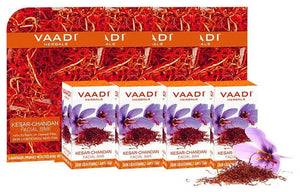 Organic Saffron Sandal Facial Bar with Orange Peel Extract - Reduces Marks (4 x 25 gms/0.9 oz)