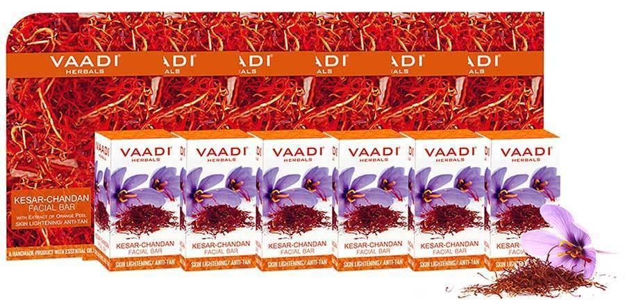 Organic Saffron Sandal Facial Bar with Orange Peel Extract - Reduces Marks (6 x 25 gms/0.9 oz)