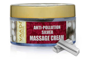 Organic Silver Massage Cream with Pure Silver Dust & Sandalwood Oil - Deep Cleanses Skin - Keeps Skin Soft (50 gms/ 2oz)
