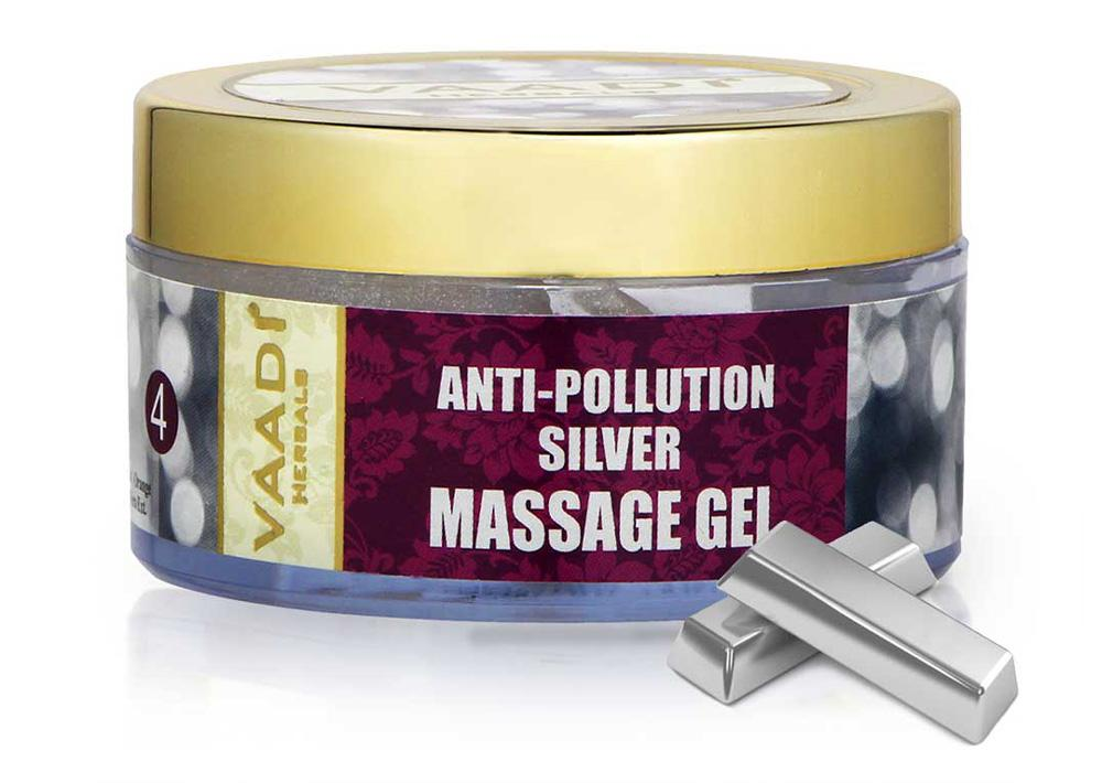 Organic Silver Massage Gel with Pure Silver Dust & Sandalwood Oil - Deep Cleanses Skin - Keeps Skin Soft (50 gms/ 2oz)