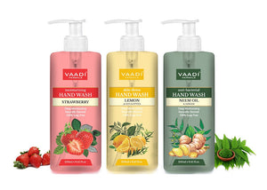 Pack of 3 Luxurious Handwash - Lemon & Strawberry & Neem (3 x 250 ml / 8.5 oz)