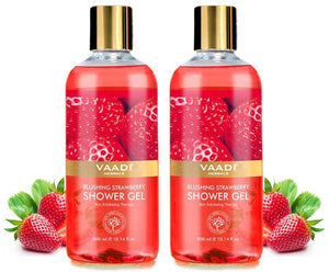 Blushing Organic Strawberry Shower Gel - Skin Firming Therapy (2 x 300 ml / 10.2 fl oz)