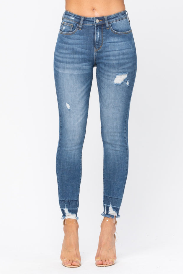 High Waist & Hem Destroyed Jeans