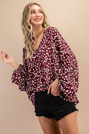 Burgundy Cheetah Love Top