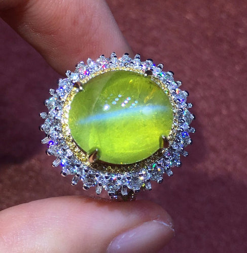 AIGS  Real 18K White Gold 100% Natural Chrysoberyl Cat's Eye Gemstones 12.53carats Rings for women