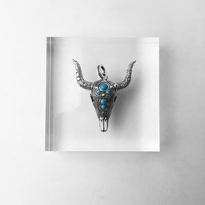 Blue Nature Stone Bull Skull Sterling SilverJewelry
