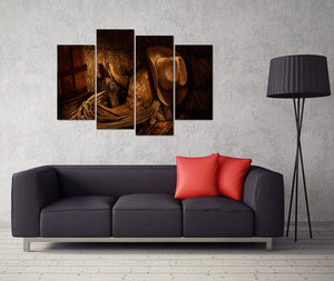 4 Pieces Retro Canvas Prints American West Rodeo Cowboy Wall Art