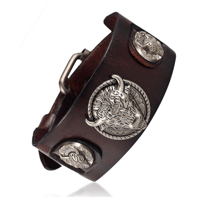 Buffalo Head Retro Genuine Leather Bracelet for Men and Women