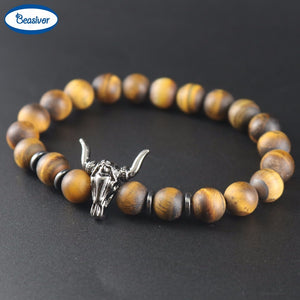 Matte Brown Tiger eyes Natural Stones Black Bull Head Bracelets