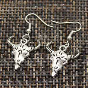 Handmade Bull Skull Silver Earrings For Womens