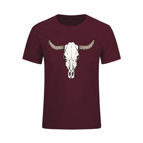 Custom Short Sleeved Bull Skull T Shirts