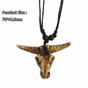 Yak Bone Wax 3D Carving Tribal Bull Skull Head Pendant Necklace