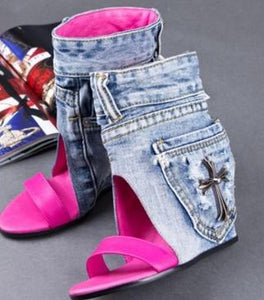 Cowboy shoes and goatskin ladies sandals boots wedges