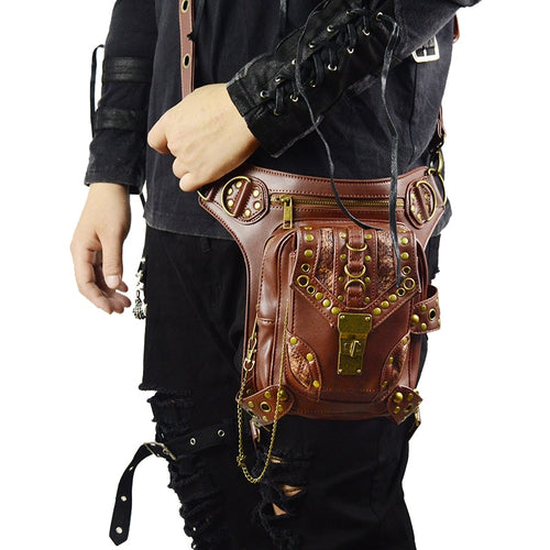 Retro Brown Crossbody Leather Waist Bag For Men and Women
