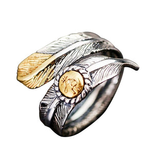 Vintage Native Pawn Indian Jewelry Navajo Feather Open Band Ring